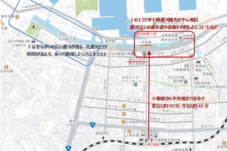 小樽運河の見どころ地図