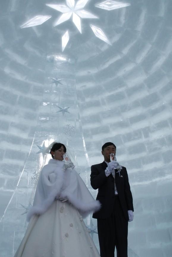 しかりべつ湖コタン・氷のチャペルで結婚式