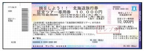 北海道旅行券認定ツアー専用券