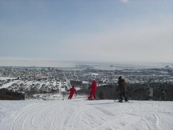 流氷が見えるスキー場