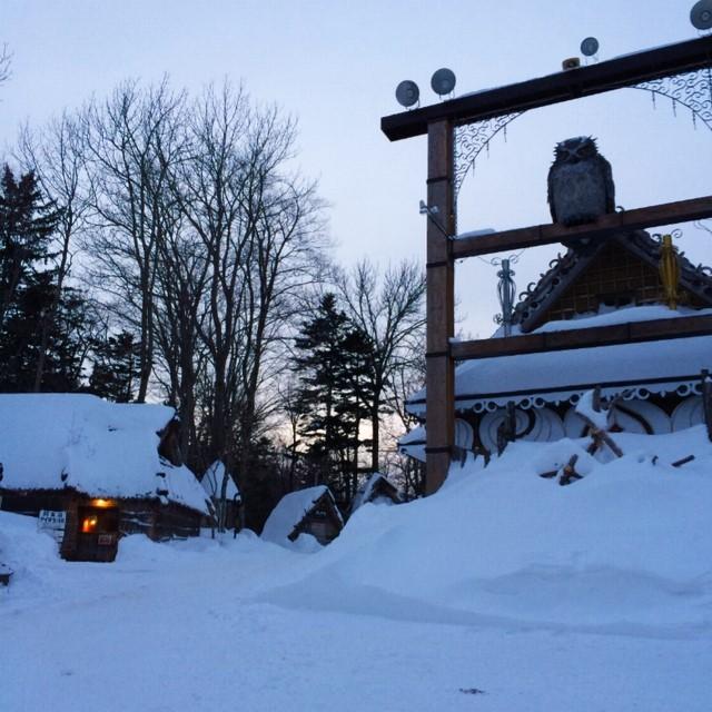 冬の阿寒湖アイヌコタン