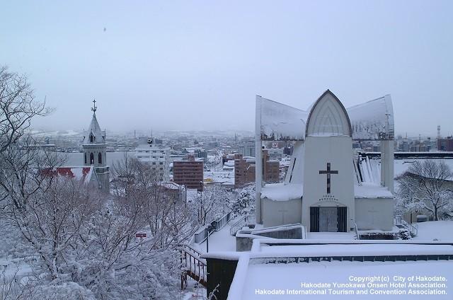 元町教会群の雪景色