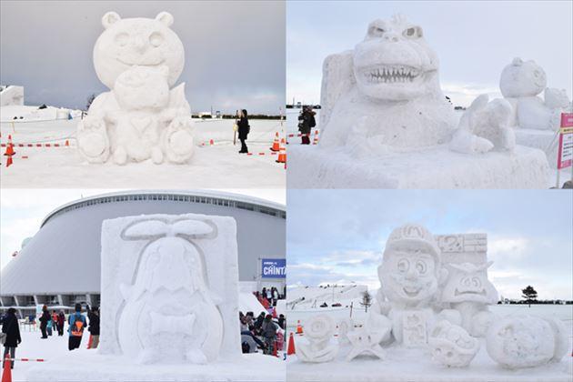 つどーむ会場の雪像