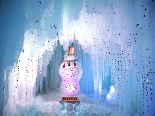 北海道 層雲峡氷瀑まつり 氷で作る神玉
