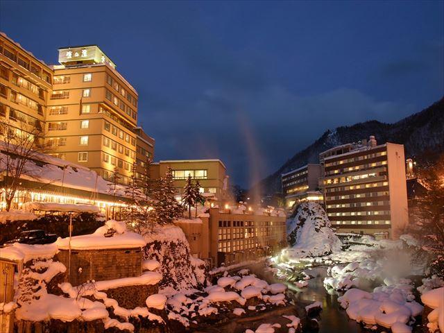 雪景色の定山渓温泉