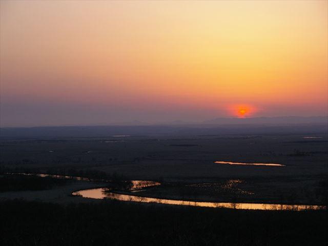 釧路湿原 細岡展望台から望む夕日