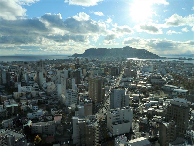 函館 五稜郭 展望フロアから望む街並み