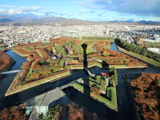 函館 五稜郭 展望フロアから望む五稜郭