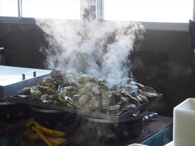 湧別かきまつり 蒸し牡蠣