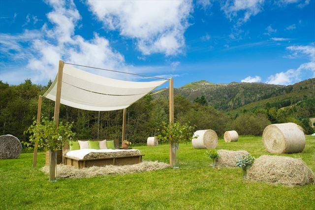 星野リゾート ファームエリア 牧草ベッド