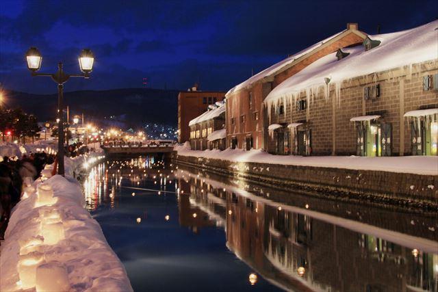 小樽観光 インスタ 小樽雪あかりの路 運河に浮かぶ灯篭
