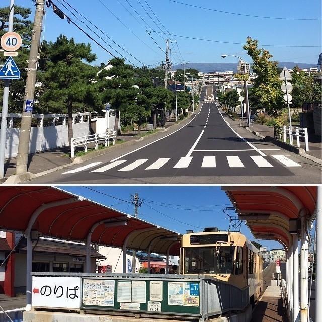 函館 看板 レトロな函館市電 谷地頭駅を降りると閑静な住宅街