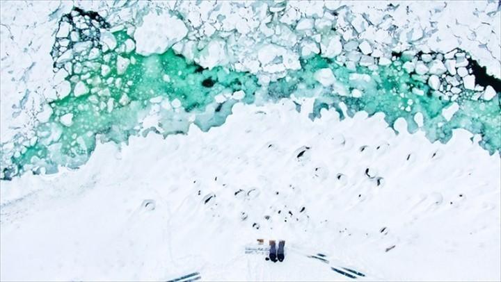 知床 流氷 流氷浴